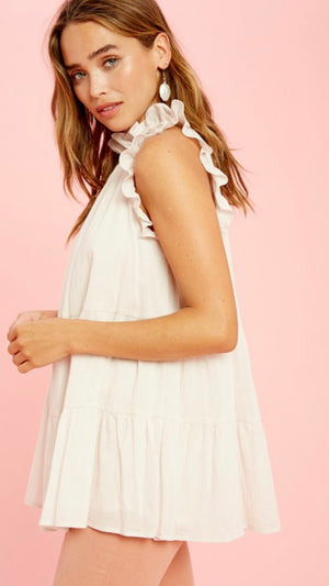 Lila Tie Back Ruffle Top (Natural)