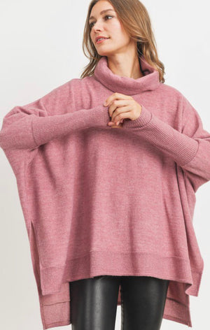 Meri Brushed Knit Turtleneck Pullover (Rose)