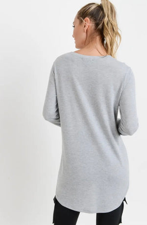 Paige Top with Side Slits (Grey)