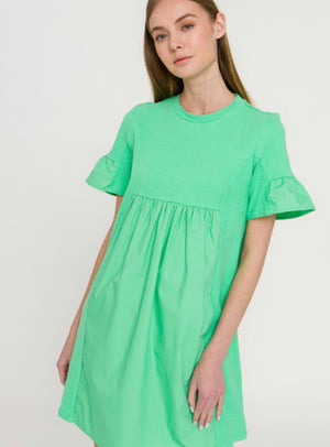 Waverly Mixed Media Dress (Pistachio)