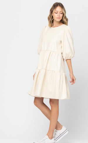 Adley Faux Leather Dress (Ivory)