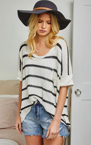 Polly Striped Short Sleeve Sweater