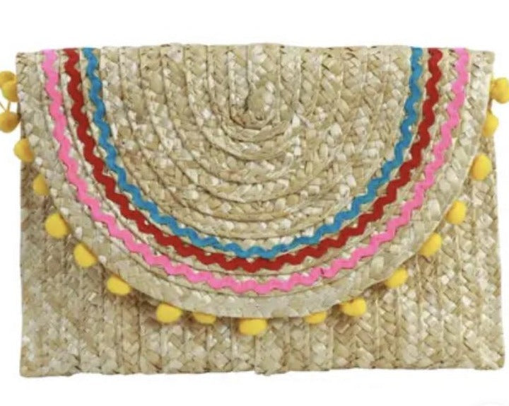 Lourdess Multi Color Straw Clutch