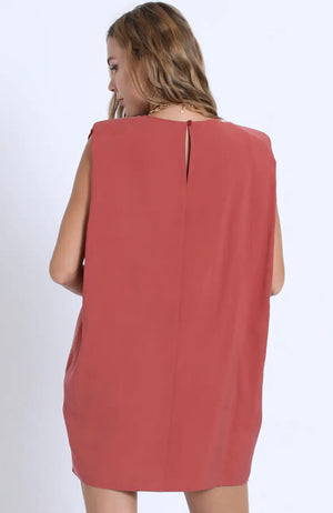 Emmarie Shoulder Pad Dress (Brick)