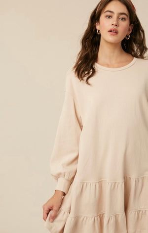 Carmen Sweatshirt Dress (Natural)