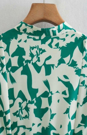 Cleo Green and White Print Dress