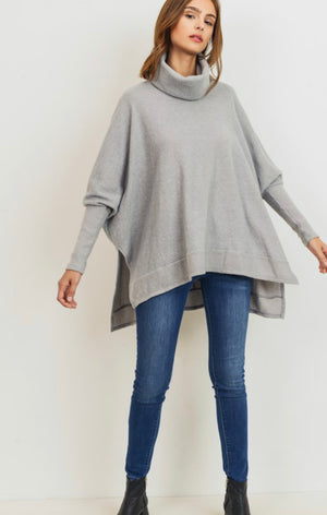 Meri Brushed Knit Turtleneck Pullover (Heather Gray)