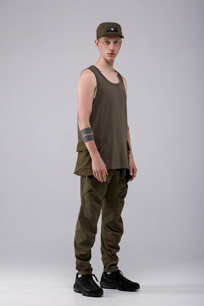 Riot Division Tank Top Patched Pockets KHAKI
