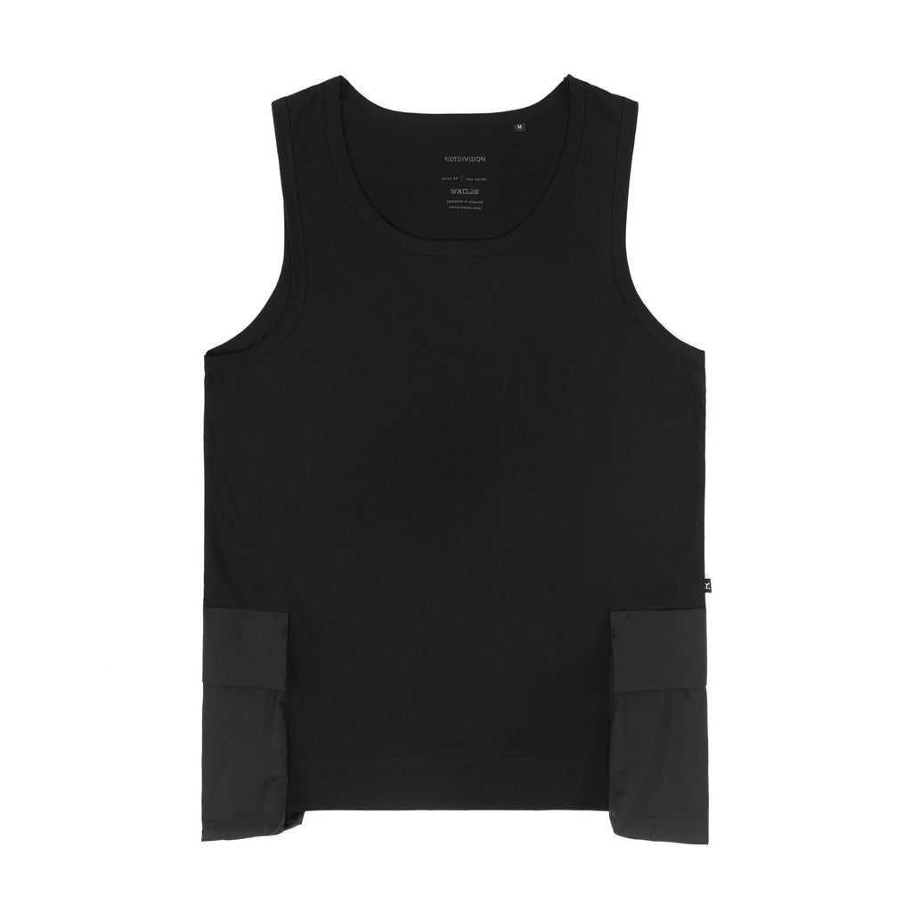 Riot Division Tank Top Patched Pocket BLACK