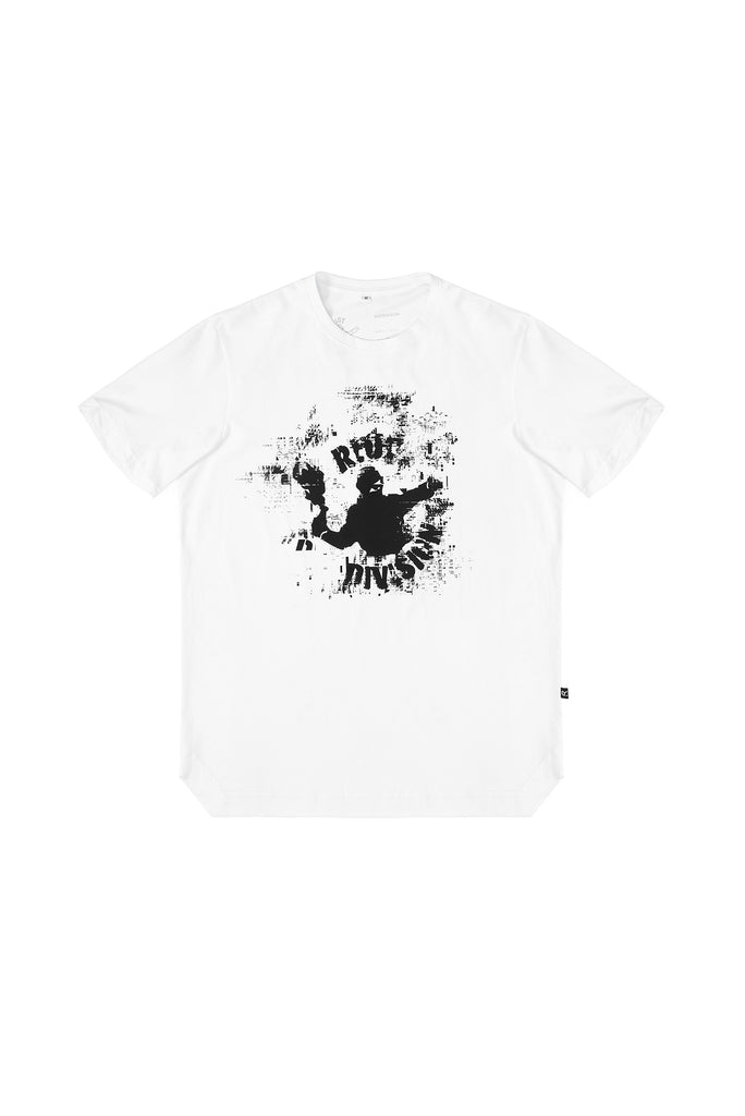 Riot Division T-shirt Angularity Glitch Molotov Logo WHITE