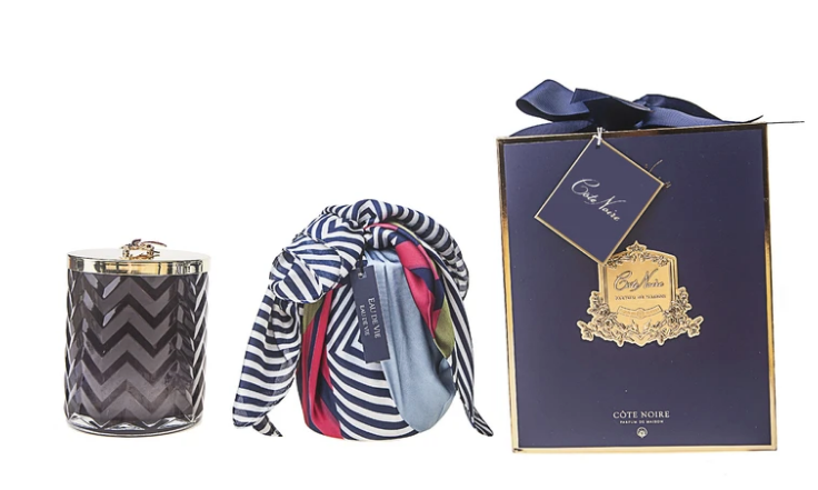 HERRINGBONE CANDLE WITH SCARF EAU DE VIE- NAVY & DRAGONFLY LID