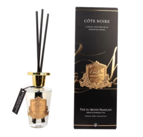 CÔTE NOIRE 150ML DIFFUSER SET - FRENCH MORNING TEA - SILVER/GOLD