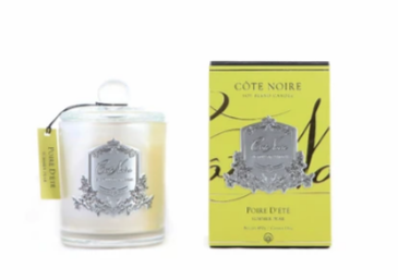 CÔTE NOIRE 450G SOY BLEND CANDLE - SUMMER PEAR - SILVER/GOLD
