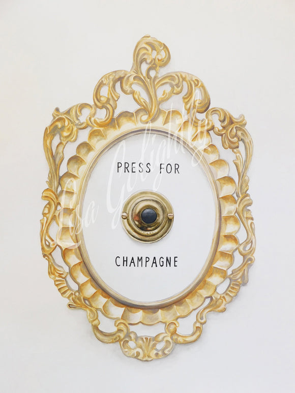 Press For Champagne - Giclee Print of an Original Watercolor Painting