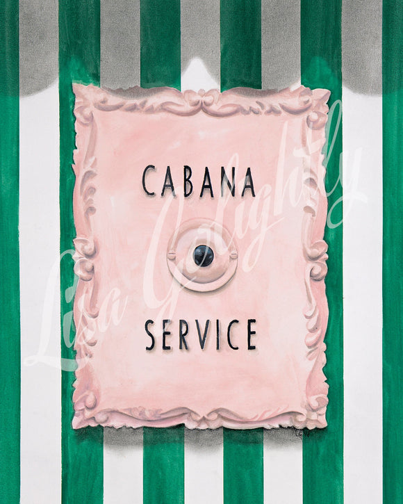 Cabana Service - Giclee Print of an Original Watercolor Painting