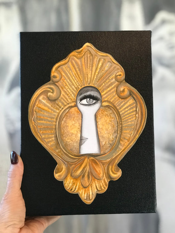Keyhole in Black Giclee on Canvas 8x10