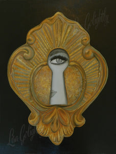 Keyhole in Black Giclee on Canvas