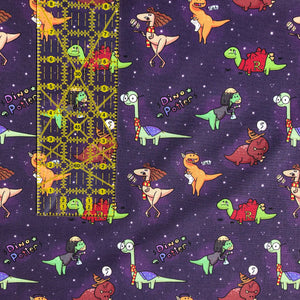 "Harry Potter Dinos - ""Amato Animo Dinomagus"" - in purple by the half yard"