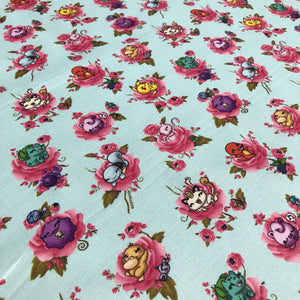 "Pokemon Fabric - ""Flower Monsters"" - in teal by the half yard"
