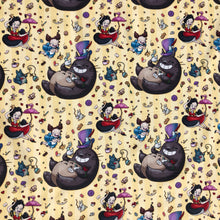 "Load image into Gallery viewer, Totoro x Alice Fabric - ""Falling Alice Totoro"" - in happy yellow by the half yard"