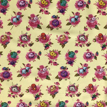 "Load image into Gallery viewer, Pokemon Fabric - ""Flower Monsters"" - in soft yellow by the half yard"