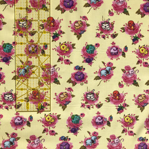 "Pokemon Fabric - ""Flower Monsters"" - in soft yellow by the half yard"