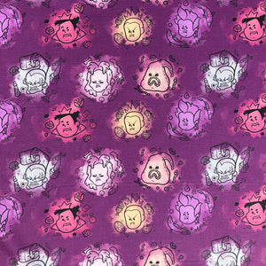 "Disney Villains - ""Bad Girls Club"" - in dark purple by the half yard"