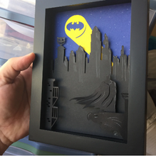 "Load image into Gallery viewer, Batman Shadow Box- 5""X7""- Framed"