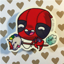 Load image into Gallery viewer, DeadPool on a Unicorn Stick- Big Sticker