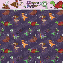 "Load image into Gallery viewer, Harry Potter Dinos - ""Amato Animo Dinomagus"" - in purple by the half yard"