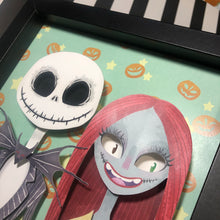 "Load image into Gallery viewer, Jack and Sally - Shadow Box- 8""x 8""- Framed"