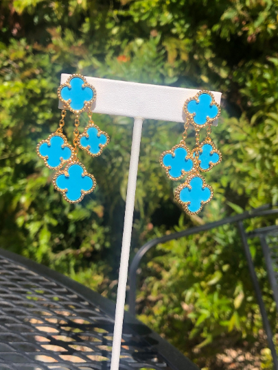 Excellent Quality Turquoise Dangle drop clover earrings 4 charm coun