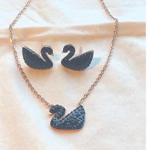 Black Swan Pendant Earring Set Swarovski Elements