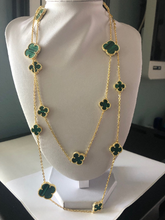 Load image into Gallery viewer, Astounding Quality! 44 inch long 16 count multi size Large & Small Green Malachite Clover Necklace - Yellow Gold Titanium hypoallergenic