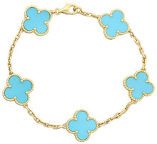Load image into Gallery viewer, Turquoise Clover Bracelet 18 Yellow Gold stamped O/Hypoallergenic SS Base