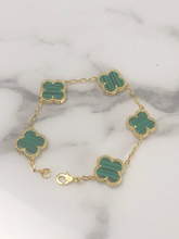 Load image into Gallery viewer, Green Malachite Solid Stone Clover Bracelet Top Quality Yellow Titanium