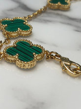 Load image into Gallery viewer, Stunning 10 count Green Malachite Clover Necklace - 16 inch - Yellow Gold Titanium