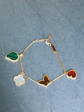 Load image into Gallery viewer, Clover Leaf Butterfly Heart  Bracelet Solid Stones Mother of Pearl, Green Malachite, Tiger Eye, Red Carnelian