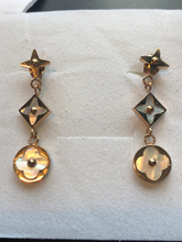 Load image into Gallery viewer, Highly polished onyx -3 drop Star Blossom Earrings - Star and Flower blossom Or Choose Mother Of Pearl Pink Gold or Silver