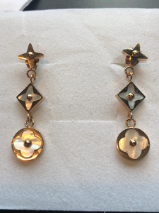 Highly polished onyx -3 drop Star Blossom Earrings - Star and Flower blossom Or Choose Mother Of Pearl Pink Gold or Silver