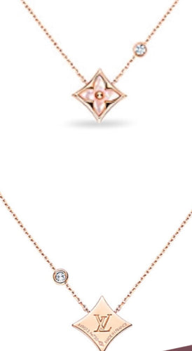 COLOR BLOSSOM BB STAR PENDANT, PINK GOLD, PINK MOTHER-OF-PEARL AND DIAMOND Vintage Stamped findings