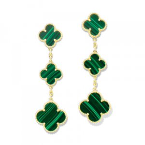 Green Malachite Dangle 3 Clover Earrings Yellow Gold Stamped