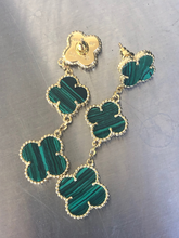 Load image into Gallery viewer, Green Malachite Dangle 3 Clover Earrings Yellow Gold Stamped