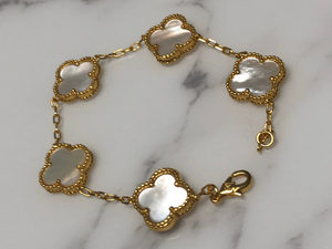 Solid Mother Of Pearl Clover Bracelet with Vintage Clasp Classic