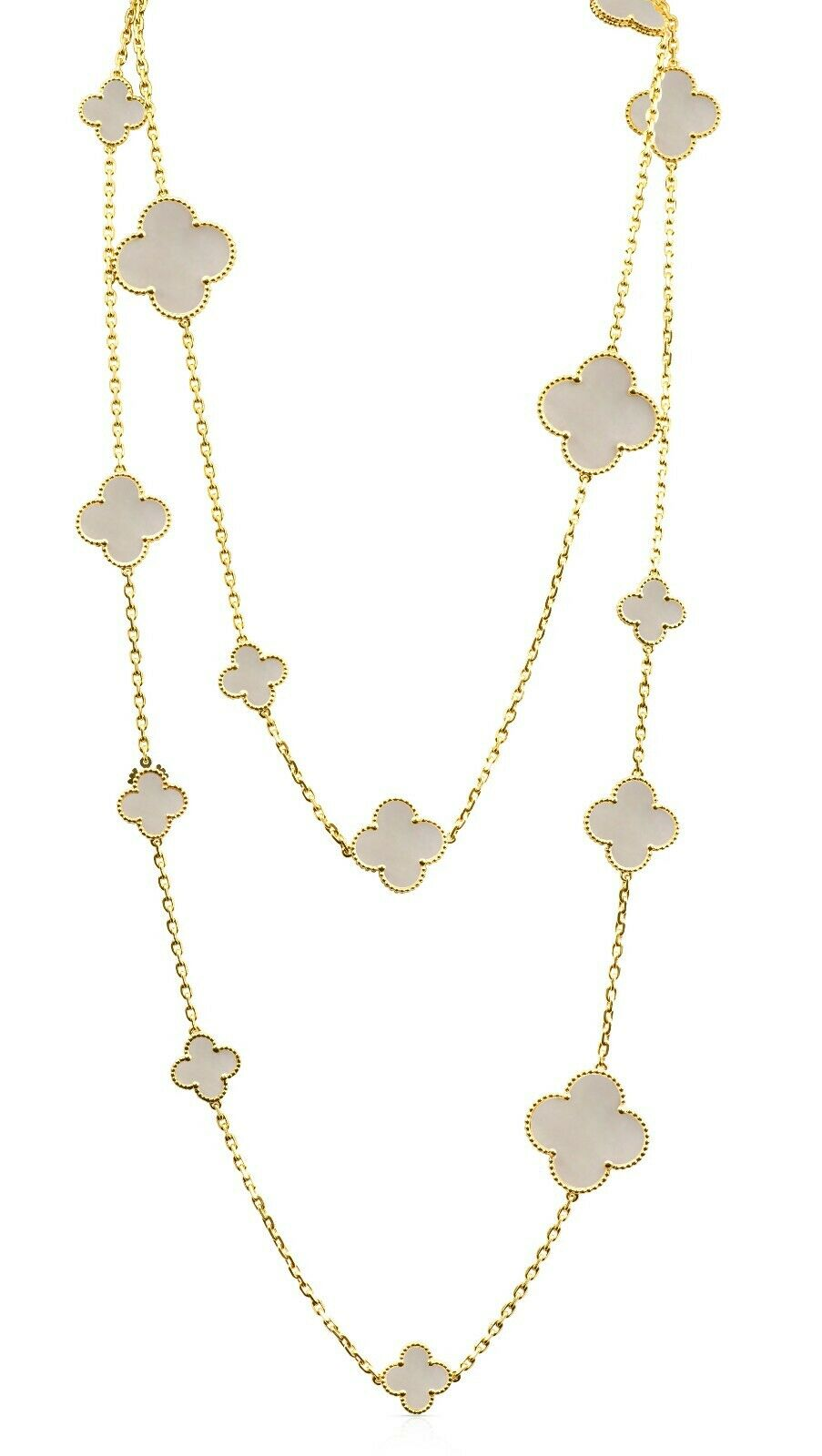 Long Solid Mother of Pearl Multi Sized Yellow Gold Clover Necklace 44 inches - wear long or double up Yellow Gold Titanium