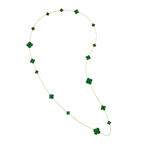 Astounding Quality! 44 inch long 16 count multi size Large & Small Green Malachite Clover Necklace - Yellow Gold Titanium hypoallergenic