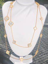 Load image into Gallery viewer, Long Solid Mother of Pearl Multi Sized Yellow Gold Clover Necklace 44 inches - wear long or double up Yellow Gold Titanium