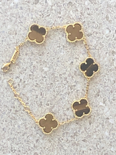 Load image into Gallery viewer, Stunning Solid Tiger Eye Clover Bracelet Yellow Gold Titanium