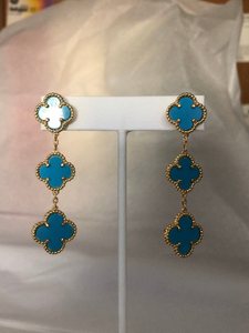Turquoise Triple 3 Drop Clover Earrings - Yellow Gold Titanium