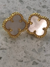 Load image into Gallery viewer, Classic Solid Mother Of Pearl Ancient Clover Symbol Stud Earrings 18k O/Titanium